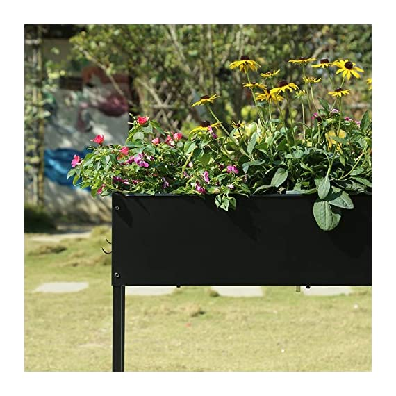"Mixc raised garden bed, metal elevated outdoor planter box for backyard & patio,large planter for vegetable flower herb… 6 【sturdy design garden box 】compared to other products, square iron table legs are designed instead of the l-shaped table legs in the mixc raised garden bed, which can provide more sufficient support and not easy to break down. The flower box weight capacity up to 185 lbs, bottom partition can support 90 lbs. 【fits perfectly into garden】35. 8""*15. 9""*31"" overall, planting box: 8. 3"" deep, holds about 2. 1 cubic feet soil, provide ample growing space to raise vegetables, herb, flower and plant. It can place outdoor for long time use. 【garden bed everywhere 】this raised garden bed has two smooth wheels on one side and a handle on the other, making it easy to move the herb planter wherever you like. Fixed hooks on the side allow you to hang ready-to-use garden tools."