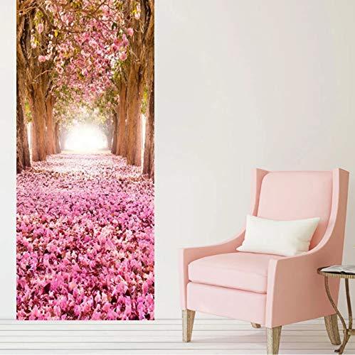 WISOEEP Living Room Wedding House Romantic Cherry Blossom Avenue 3D Door Sticker PVC Self-Adhesive Waterproof Home Decals Vinyl 3D Mural