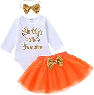 Halloween Toddler Baby Letter Print Romper+Bow-Knot Skirt+Headbands Set Outfit