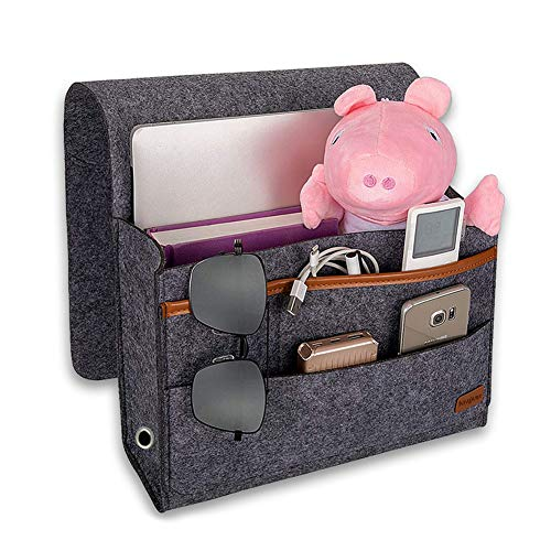 Newthinking Bedside Caddy, Bedside Hanging Storage Organizer with 4 Small Pockets for Organizing Tablet Pad Magazine Books Phone Chargers and More Gadget