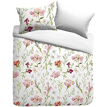 Kayori Sognamo - Juego de Cama (algodón, Funda nórdica de 135 x 200 cm y Funda de Almohada de 80 x 80 cm), diseño de Flores, con Cremallera: Amazon.es: Hogar