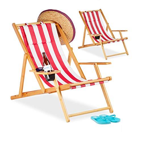 Relaxdays, Rojo, Pack 2 Tumbonas Plegables Jardín Playa con Soporte para Bebidas, Bambú, 65,5-85,5 x 71,5 x 100 cm
