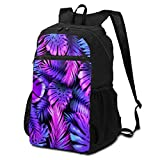 3D Printing Lightweight Packable Casual Neon Color Tropical Leaves Trendy Colorful Palm Backpacks,Travel Folding Backpack Bag,Hiking Bag,Travel Hiking Backpack Daypack for Women Teen