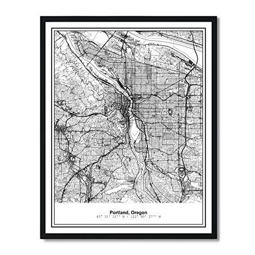 Susie Arts 11X14 Unframed Portland Oregon Metropolitan City View Abstract Street Map Art Print Poster Wall Decor V288