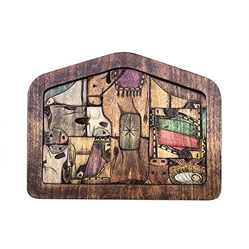 Lanyin Rompecabezas de madera de Jesús de la Natividad con diseño quemado de madera Accesorios de decoración para el hogar para niños adultos
