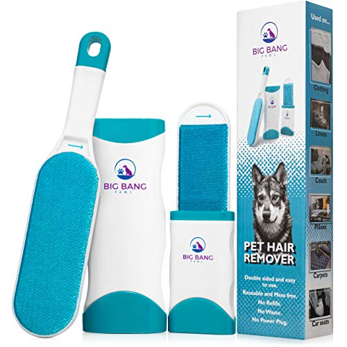Pet Hair Remover brush - dog hair remover - lint brush pet hair remover for couch - reusable fur remover for furniture, clothing and car - light pet dander remover with clear instruction manual
