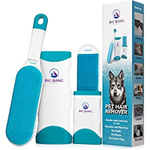 Pet Hair Remover brush – dog hair remover – lint brush pet hair remover for couch – reusable fur remover for furniture, clothing and car – light pet dander remover with clear instruction manual
