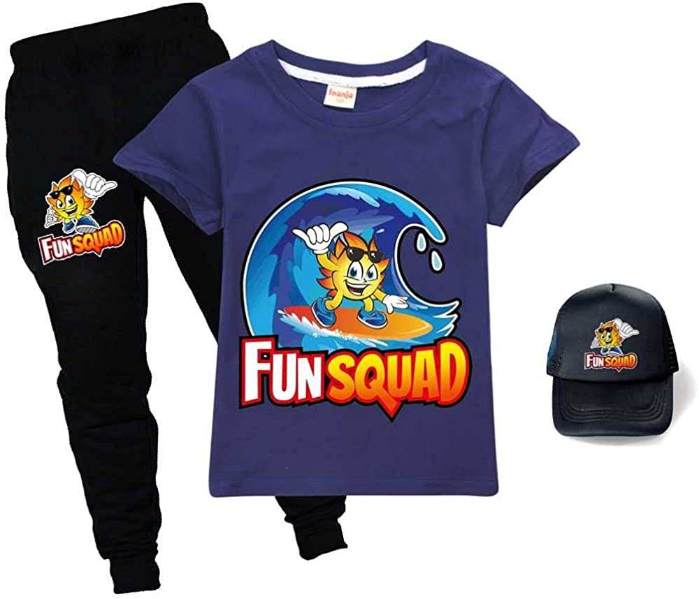 Fun Squad Hoodie Pants Tshirt Hat O Kids Casual Cartoon Set unisex Popular standard 3pcs