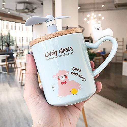 DISCOUNTL Becher, Kaffee zum Mitnehmen Becher, kreative Fan Keramik Tasse Cartoon niedlich und niedlich Alpaka Paar Becher Mädchen Herz Student Kaffeetasse
