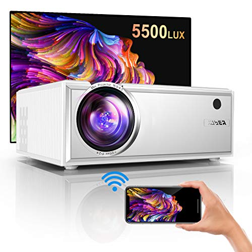 "Projector, YABER Y61 WiFi Mini Projector 5500 Lux Full HD 1080P and 200"" Supported, Portable Wireless Mirroring Projector for iOS/Android/TV Stick/PS4/PC Home & Outdoor"
