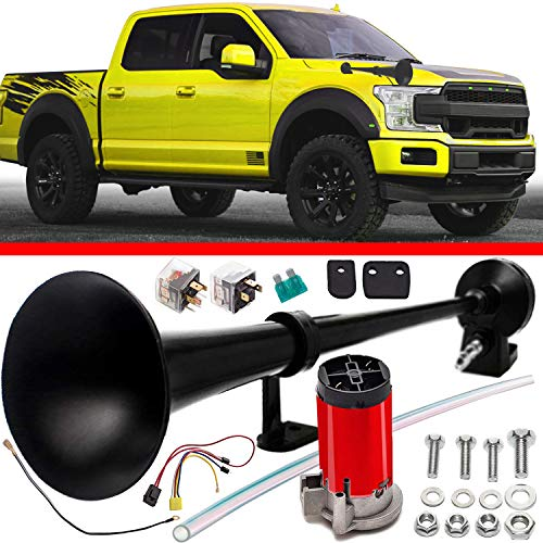 Cobra Tuning Air Horn Kit for Trucks Super Loud 150DB 12V - Advanced Technology, Easy to Connect, Optimal Safety on The Road - Black Truck Air Trumpet Suitable for Trucks SUV Boats Train