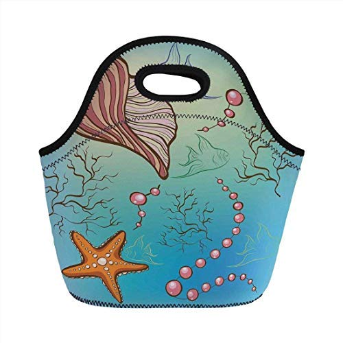 Portable Neoprene Lunch Bag, Pearls Decoration, Under the Sea Theme Decor Pearls Shell Starfish Fish Nautical Decor Marine Life Image, Blue Pink, for Kids Adult Thermal Insulated Tote Bags