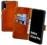 Suncase Book-Style Hülle kompatibel mit Samsung Galaxy Xcover Pro Leder Tasche (Slim-Fit) Lederhülle Handytasche Schutzhülle Hülle mit 3 Kartenfächer in Burned-Cognac