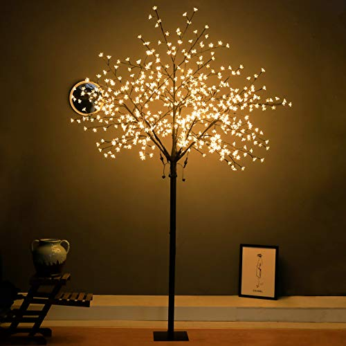 Snokip 8Ft 600 LED Lighted Cherry Blossom Tree, Decorate Home Garden, Wedding, Birthday, Christmas Holiday, Party, for Indoor and Outdoor Use, Warm White, 1 Pack