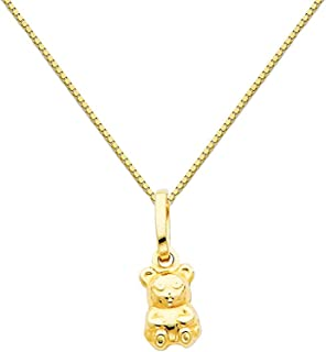 14k Yellow Gold Teddy Bear Charm Pendant with 0.65mm Box Link Chain Necklace
