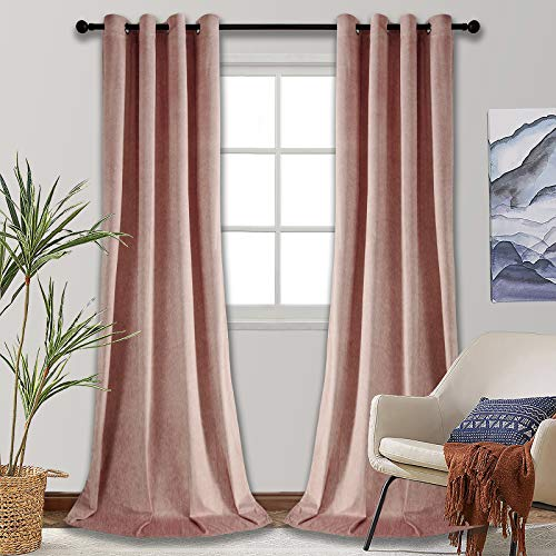 SMILETIME Blackout Velvet Curtains with Grommet, Thermal Insulated Super Soft Privacy Noise Reducing Velvet Drapes for Living Room, 2 Panels, Pink, Each 52 x 96 inches Long