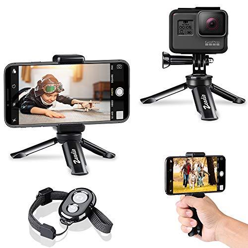 zeadio Bluetooth Mini Smartphone Stativ, Action Kamera Tragbare Stativ, Desktop Tischplatte Stand Stativ für GoPro und alle Handys