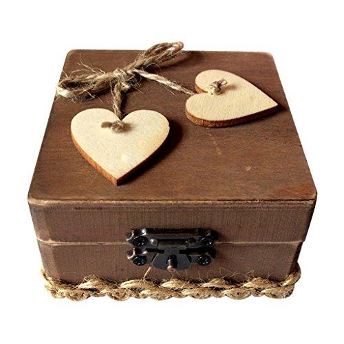 Magideal - Joyero de madera vintage, Corazón, 8 x 8 x 8 cm