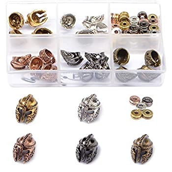 AD BEADS 75 Pieces in 5 Colors 25 Pieces Sparta Helmet Beads Plus Matching 50 Pieces Double Heishi Spacers Connector Charm Beads Jewelry Making Craft