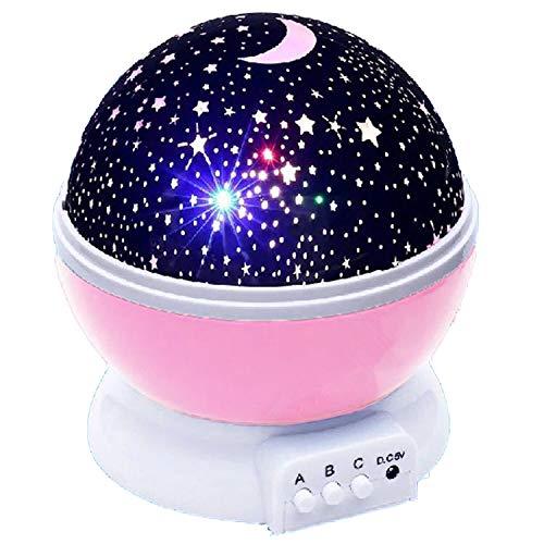 Proiettore cielo stellato, luce notturna, rotazione a 360°, luce LED a forma di stella, perfetto per feste, camerette dei bambini, Halloween, Natale, bambini, camera da letto, decorazione Baby Rosa