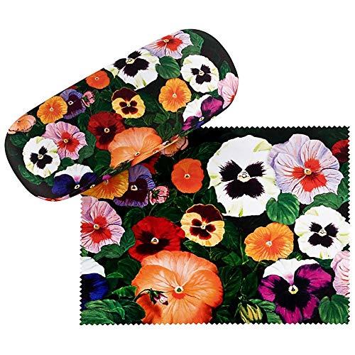 VON LILIENFELD Brillenetui Stiefmütterchen Blumen Geschenk Hardcase Leicht Box Stabil Edel Brillenputztuch Floral