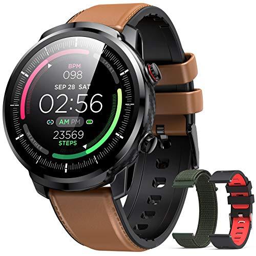 Hommie Montre Connectée Homme Smartwatch Sport Etanche IP68 Bracelet Connecté Tensiomètre Oxymètre Cardiofréquencemètre Podomètre Fitness Tracker d'Activité avec 3 Sangles pour iPhone Samsung Huawei