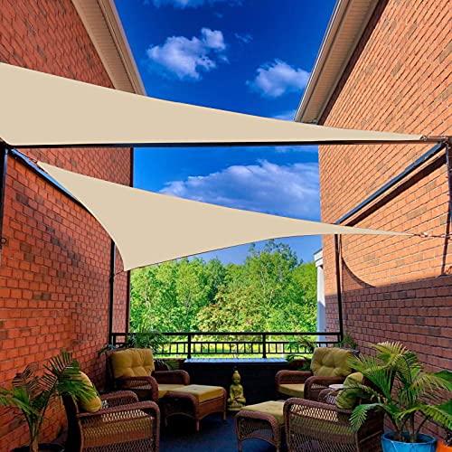 IBIZSAIL Markise-Wasserdicht- 95% UV Sonnenschutz - Gebogenes Dreieck - Geeignet für Garten、 Balkon、 Outdoor - Sand - 500 x 500 x 500 cm