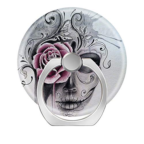 360 Degree Finger Stand Cell Phone Ring Holder Car Mount with Hook for Smartphone-Watercolor Sugar Skull Girl