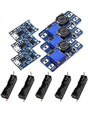 Módulo convertidor 3 en 1 CC CC Step-Up MT3608-3X, regulador de voltaje ajustable de 2 a 24 V a 5 V-28 V, 3 módulos de carga TP4056 18650, soporte de batería 5 x 18650.