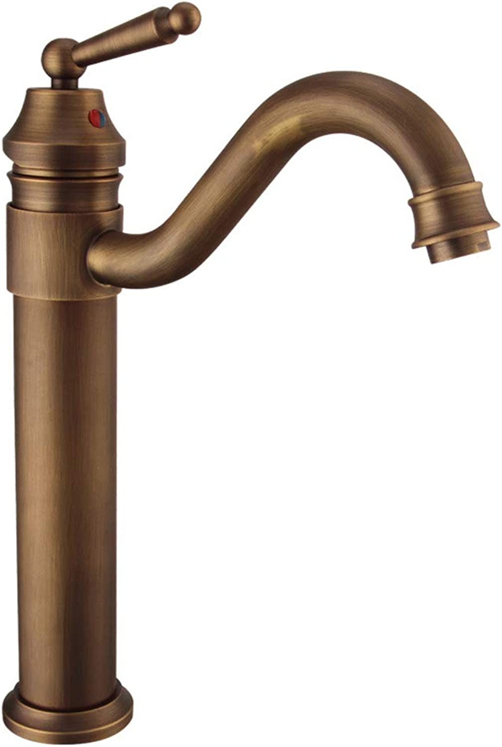 YBHNB Bathroom Sink Taps, Full Copper Finish Taps European Single Hole Retro Hot and Cold Mix redary Spout Antique Basin Faucet(Kitchen Taps)