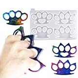 Self-Defense Finger Keychain Mold,4 Brass Knuckles Shape with Hole Crystal Epoxy Resin Mold,Super Glossy Self-Defense Keychain Casting Silicone Mould,DIY Polymer Clay Crafts Making Tools