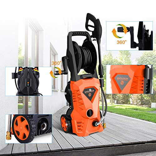 WHOLESUN 3000PSI Electric Pressure Washer 2.4GPM 1600W Power Washer with Hose Reel and Brush Orange