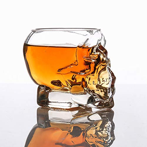 WSKL Glass Crystal Head Cup for Whiskey Home Bar Skull Shot Glass Beer Cup Drinkware 3D Transparent Creative Skull Shot,China,80ML