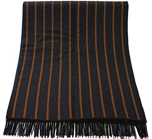Rotfuchs Couverture Couverture en laine Couverture Couverture à carreaux Double face rayures anthracite ocre 70% laine 30% acrylique