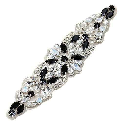 XINFANGXIU Rhinestone Applique con Cristales y Perlas para el Vestido Headpieces Bolsas Cinturon para Vestido Novia, Cinturones Boda