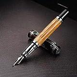 Onior Patrón Classic Pen Confucio de bambú Natural de Metal en Relieve doblado plumilla de la caligrafía Pluma iridio de 1,2 mm for Office Regalo Pluma (Color: Caligrafía Pluma, Tamaño: Libre)