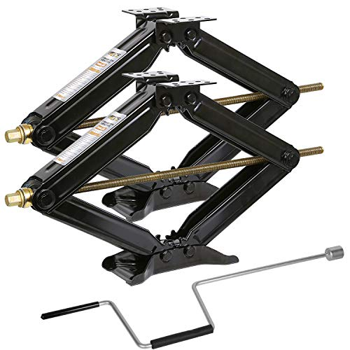 "Weize Camper RV Trailer Stabilizer Leveling Scissor Jacks With Handle -24""- 5000lbs - Set Of 2"