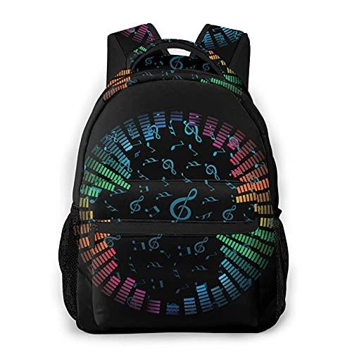 Reloj de notas musicales mochila escolar para escuela secundaria universitaria estudiante Bookbag adolescentes ordenador portátil bolsa casual
