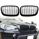 Black Front Bumper Intake Kidney Grills Grille for BMW E70 E71 X5 X6 X5M X6M For X5 07-13 X6 08-14 (Gloss Black)