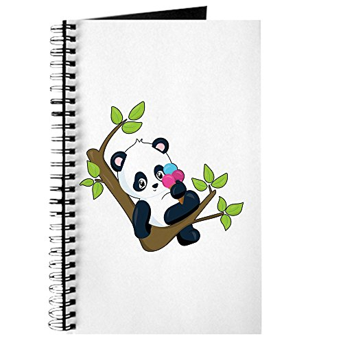 Journal (Diary) with Cute Panda Bear Eating Ice Cream on Cover