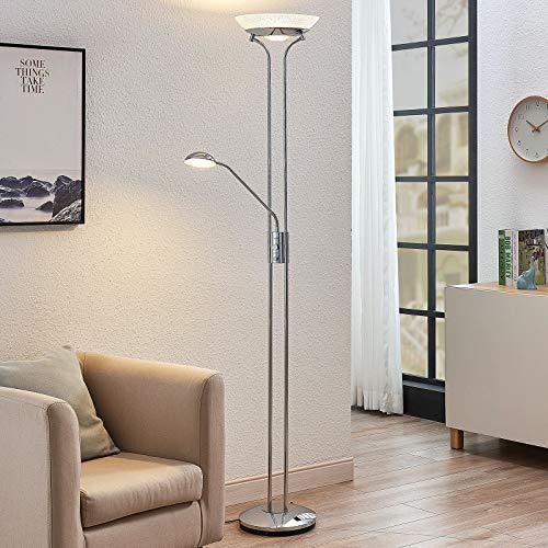 Lindby LED Stehlampe/Deckenfluter dimmbar, verstellbarer Lesearm   Standleuchte Chrom glänzend   inkl. 1x 20W und 1x 5W LED Leuchtmittel A+ (fest verbaut)   warmweiß (3.000K)
