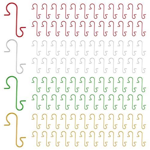 FEPITO 200 Pezzi Ganci per Ornamenti Natalizi 4 Colori Ganci per Ornamenti Natalizi in Acciaio Inossidabile Perfetti per Decorazioni per Alberi di Natale Artigianali, Argento Rosso Oro Verde