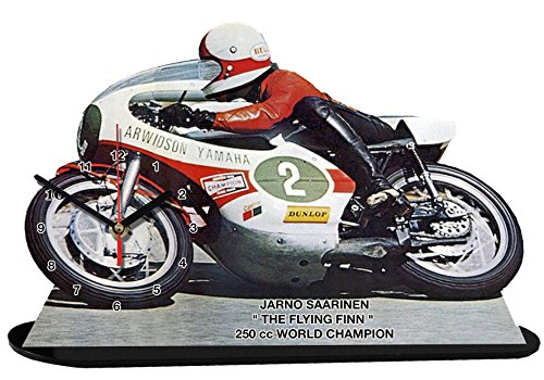 auto-horloge Jarno SAARINEN, Moto Yamaha, Miniatur Modell Motorrad in der Uhr 09