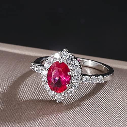 DJMJHG Anillo de rubí Ovalado para Mujer, joyería de Plata 925 con Piedras Preciosas, joyería Fina Vintage para Mujer, Anillo de Fiesta, tamaño 5-9, Regalos, 9 Rojo