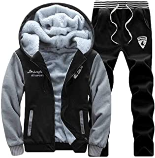 Maweisong Mens Tracksuit Fleece Hooded Sweatshirt Coat Hoodies+Pants Sport Sweat Suit