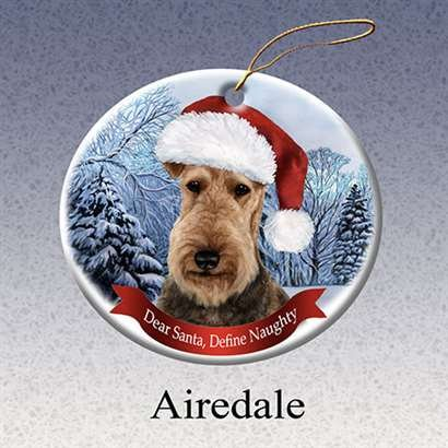 Holiday Pet Gifts Airedale Santa Hat Dog Porcelain Christmas Tree Ornament