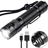LED Torch, High Power USB Rechargeable Flashlight Mini Pocket Torch 5 Modes Waterproof