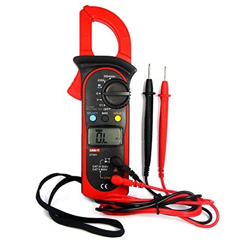 UNI-T UT201 Pinza Multímetro Amperimetrica Digital Profesional Clamp Meter AC DC para Medida Amperímetro Voltímetro Ohmímetro Automática Corriente Tensión Data Holding