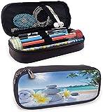KLKLK Estuche Spa Decor Pencil case for Girls Spa Treatment on Tropical Beach Sunshines Palm Trees Bungalows Wooden Deck Cute Accessories