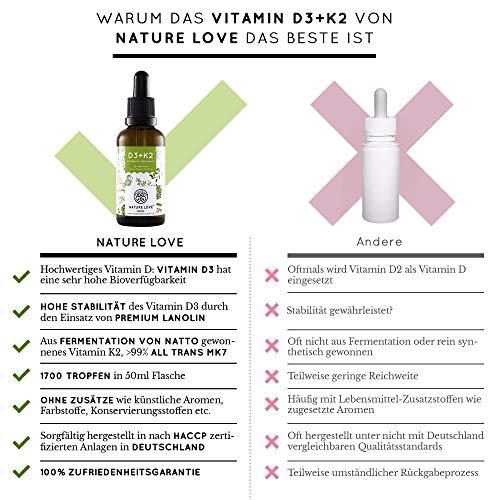 NATURE LOVE® Vitamin D3 + K2 (50ml flüssig) - Hoch bioverfügbar durch Original VitaMK7® 99,7% All-Trans + laborgeprüfte 1000 I.E. Vitamin D3 pro Tropfen - Hochdosiert, in Deutschland produziert - 4